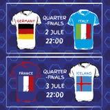 T-Shirts mit Flaggen Übergeben Sie gezogenes T-Shirt mit Flagge und Fußballmuster Set Markierungsfahnen stock abbildung