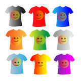 T-shirts. Nine t-shirts with face icons isolated on white Stock Image