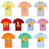 T-shirts with pictures of animals and words on it  Stock Images