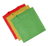 T-shirts - Red, green and yellow. Three t-shirts with traffic light - red, green and yellow royalty free stock photo