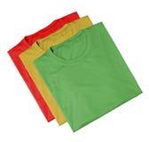 T-Shirts - rot, grün und gelb Lizenzfreies Stockfoto