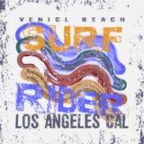 T-Shirts surfen Reiter, LA Strand, Kalifornien-Surfen Stockfotografie