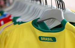 T-shirts with the text BRASIL which means Brazil for sale in the Stock Photo
