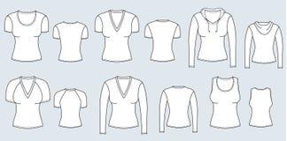 T-Shirts und Blusen. Vektorkleidung für Frauen lizenzfreie abbildung