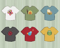 T-shirts with wildlife icons Royalty Free Stock Photo