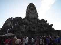 Tęsk kolejka blisko trzeci pozioma Angkor Wat Obrazy Royalty Free