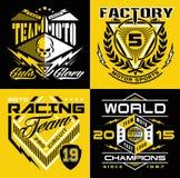 T-skjorta för motocrosssportsköld diagram Arkivbild