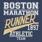 T-skjorta för Boston maratonlöpare Royaltyfri Bild