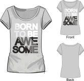 T-skjorta med modetrycket med bokstäver som uthärdas för att vara enormt vektor illustrationer