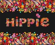 T-skjortadesignen på svart bakgrund med den färgrika blom- gränsen och hippie blommar bokstävertrycket royaltyfri illustrationer