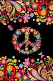 T-skjortadesignen på svart bakgrund med färgrik blom- sömlös gräns- och hippiefred blommar symbol vektor illustrationer