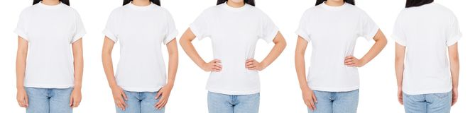 T-skjortauppsättning, isolerad kvinnatshirt, många framdel-sikt T-tröja, flicka i vit skjortacollage fotografering för bildbyråer