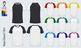 T-skjortor för Raglanrundahals mallar Främst sikt för kulör muffärmlös tröjamodell och baksidasikt för baseball, fotboll, fotboll stock illustrationer