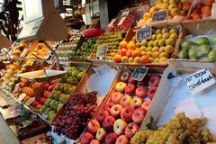 San Miguel market, fruit shop. Madrid, Spain. T in the spanish market of San miguel in Madrid - Spain. This beautiful array of fresh and exotic fruit can be royalty free stock image