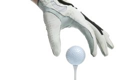 T-Stück herauf Golfhandschuh und -kugel Stockfotos
