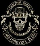T-Stück Schädel-Motorradgrafikdesign Lizenzfreie Stockbilder