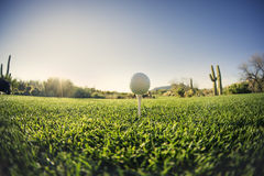 T-stuk weg - golfbal - extreme brede hoek Stock Fotografie