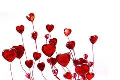 tła szklanych serc czerwony biel Zdjęcie Stock