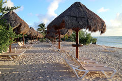 Tôt à la plage Photographie stock