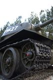 T34 tank. Historical tank stands as a monument. Close-up on the caterpillars Royalty Free Stock Photo