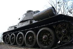 T34 tank. Historical tank stands as a monument. Close-up on the caterpillars Stock Images