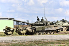 T-90 tank with mine trawl, Kadamovskiy, Russia, September 9, 2016. Forum `Army-2016`. Entry and shooting free Royalty Free Stock Photo