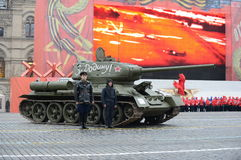 T-34 tank on parade-reconstruction  on Red Square in Moscow. Royalty Free Stock Photography