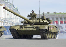 T-90 tank on parade rehearsal in honor of Victory Day. Saint Petersburg Stock Photography