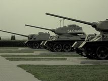 T34 tanks and self-propelled guns (САУ-100) Royalty Free Stock Photo