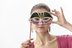 T teenage girl with a Venitian mask Stock Photos