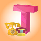 T telephone Alphabet icon great for any use. Vector EPS10. Stock Photo
