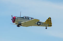 T6 Texan Fighter. A T6 Texan Fighter from WW2 flying through the air Royalty Free Stock Image