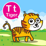 T Tiger color cartoon and alphabet for children to learning vect Stock Photos