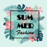 T-tröja- eller affischdesigntryck med palmblad och exotisk flowe Arkivfoton
