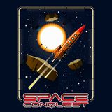 T-tröja- eller affischillustration Utrymme stjärnor, asteroider vektor illustrationer