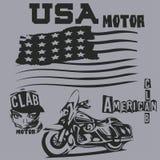 T-tröja i amerikanen, motor, clab, t-skjortor, grafisk design, origi royaltyfri illustrationer