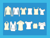 T-tröja- och blusillustracionuppsättning Royaltyfria Bilder