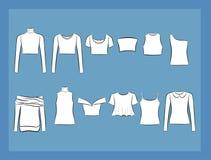 T-tröja- och blusillustracionuppsättning Arkivbild