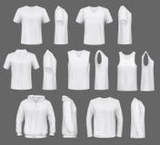 T-tröja och vindtygsjacka, polohoodie, manlig kläder vektor illustrationer