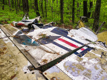 T-28 Trajan Wing. Wing from the crash of a T-28 Trojan on Humpback Mountain in Virginia Stock Photos