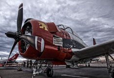 T-28 Trojan. Redding, California, USA- September 28, 2014: A WWII era North American T-28 parked at the Redding Airshow in northern California ,n Royalty Free Stock Image