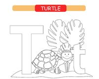 Letter T and funny cartoon turtle. Coloring page. Animals alphabet a-z. Cute zoo alphabet in vector for kids learning English voca. Bulary vector illustration