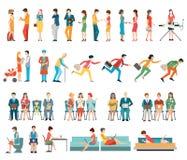 Tłum ludzie charakter kreskówki ilustracji