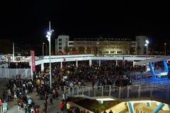 Tłum ludzie chodzi puszków schodki opuszcza Levi's stadium Obrazy Royalty Free