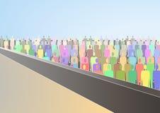Tłum ludzie stoi pod tarasem Zdjęcie Royalty Free