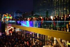 Tłum przy Ulicznym Karmowym Fest 2017, Bucharest, Rumunia Obraz Stock