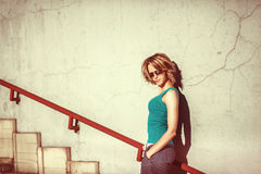 T urban city portrait of young attractive woman Stock Image