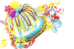 tła urodzinowego torta kolorowy biel Zdjęcie Stock