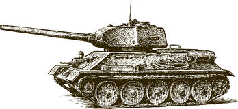 T-34. Vector image of the sketch of the old tank Stock Photography