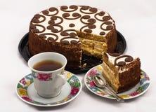 Té y torta Foto de archivo libre de regalías